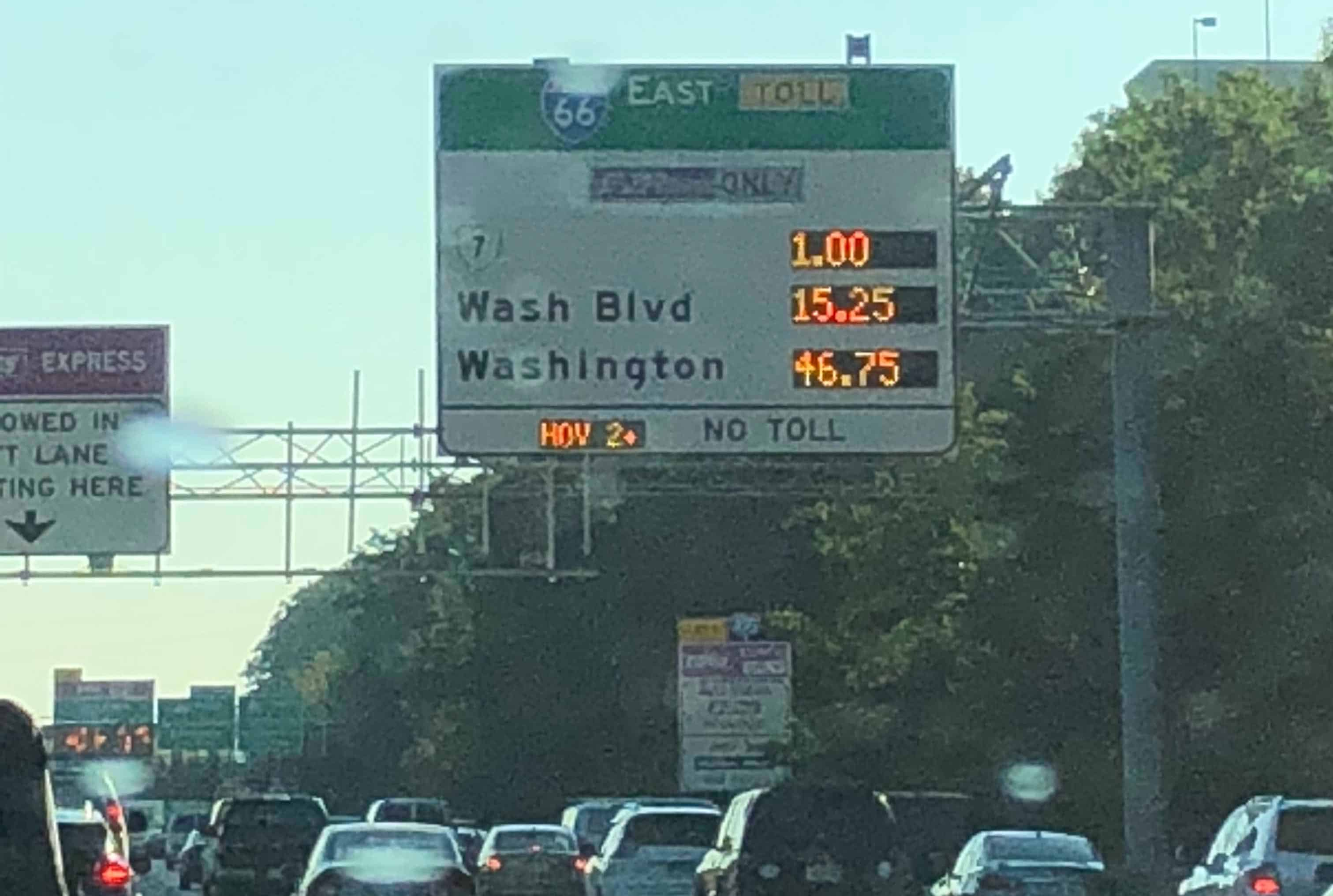 I-66 Tolls hit another high of $46.75