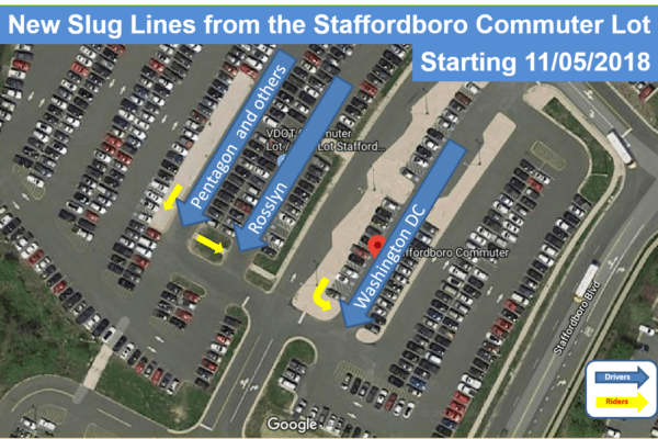 New Slug lines at the Staffordboro commuter lot