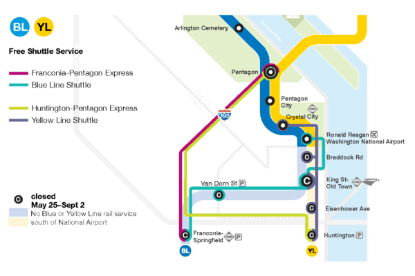 Metro bus options during the shutdown from May 25, 2019 to September 2, 2019,